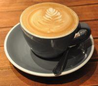 A fine flat white in a classic grey cup at Nkora in Shoreditch.