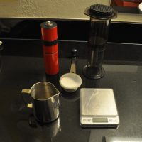 Improving hotel coffee one Aeropress at a time with a little help from my Knock feldfarb hand grinder.