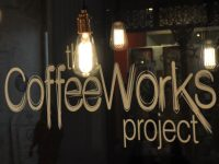 The window of the CoffeeWorks Project in Leadenhall Market in London.