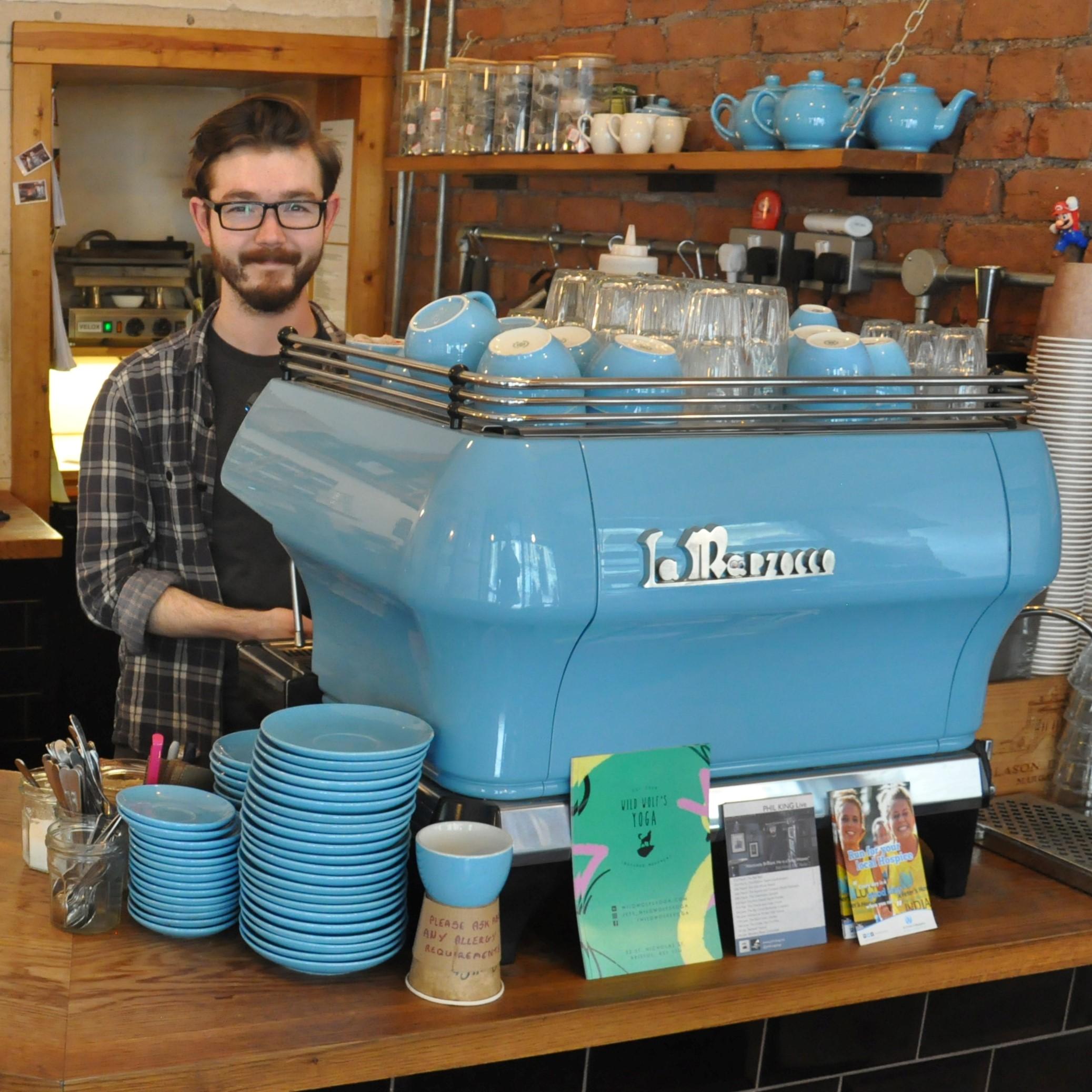 The lovely La Marzocco FB80 espresso machine, with its custom paint job, at Small St Espresso in Bristol.