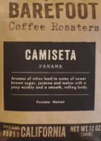 A bag of washed Camiseta coffee from Panana, roasted by Barefoot Coffee Roasters and on sale in its Campbell coffee shop.