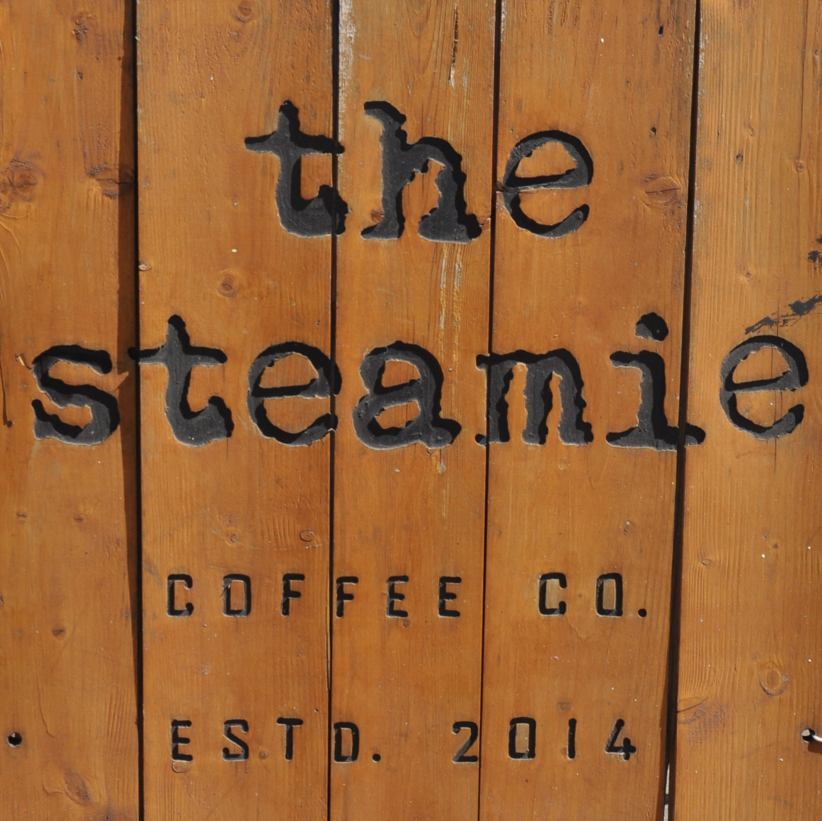 "Detail from the A-board outside The Steamie on Glasgow's Argyle Street on a sunny day in May. Reads: ""The Steamie Coffee Co. Estd. 2014"""