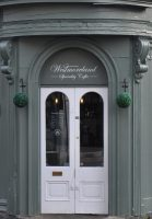 The front door of Westmoreland Coffee on the corner of Westmoreland Road in Harrogate.