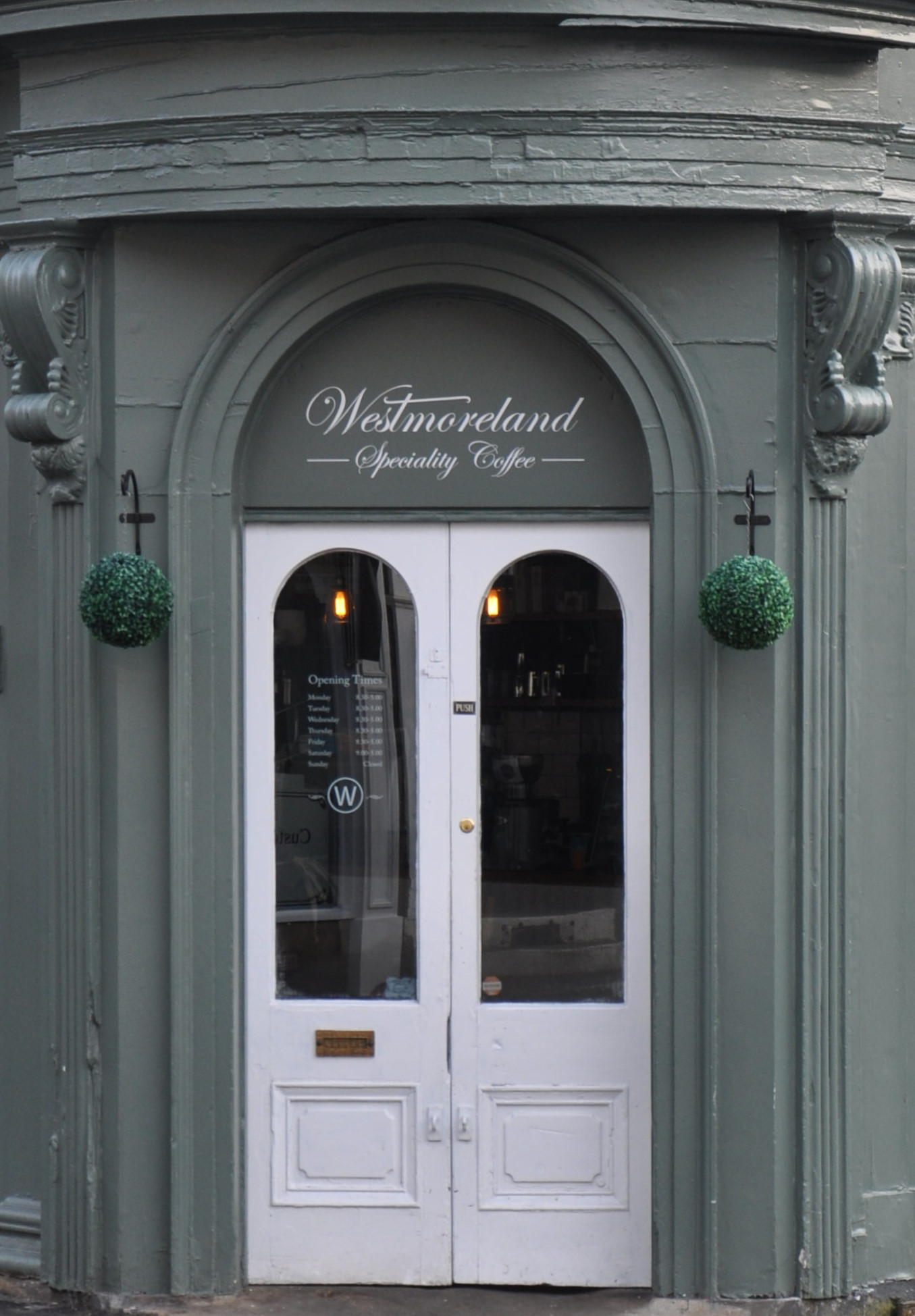 The front door of Westmoreland Coffee on the corner of Westmoreland Road in Harrogate.