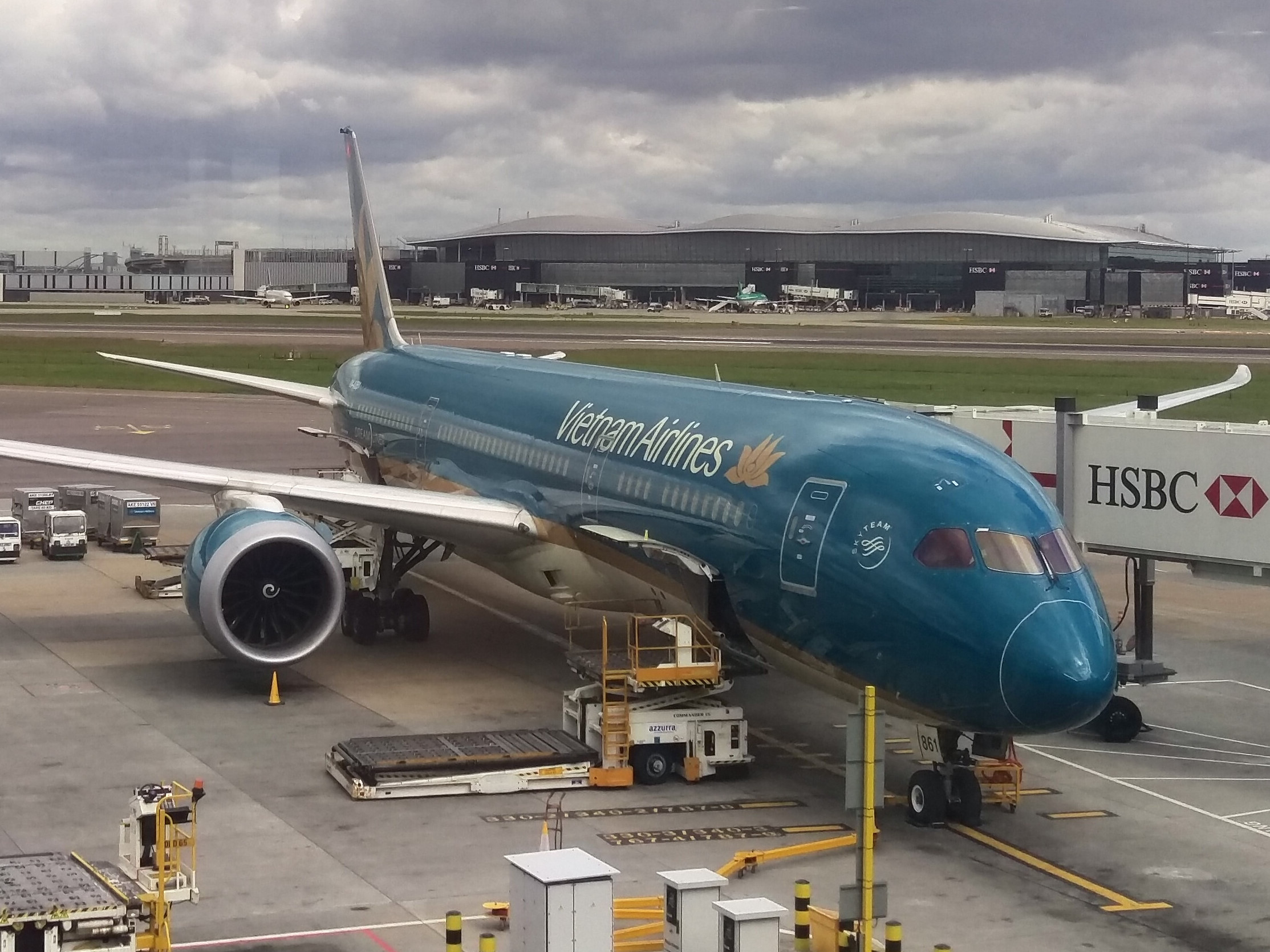 My Vietnamese Airlines Boeing 787-9 waiting at the gate at Heathrow's Terminal 4 to take me to Ho Chi Minh City.