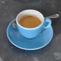 A shot of the Ethiopian Coffee Company's seasonal blend in a beautiful blue cup at its Islington cafe, Ground Control.