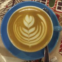 A lovely flat white with some impressive latte art in a classic blue cup from LMDC Espresso Bar in Harrogate.