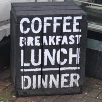 Does what it says on the box: coffee, breakfast, lunch, dinner, all at Town Square in Belfast.