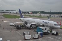 A United Boeing 757 at the stand at Manchester Airport, waiting to fly me to Newark.