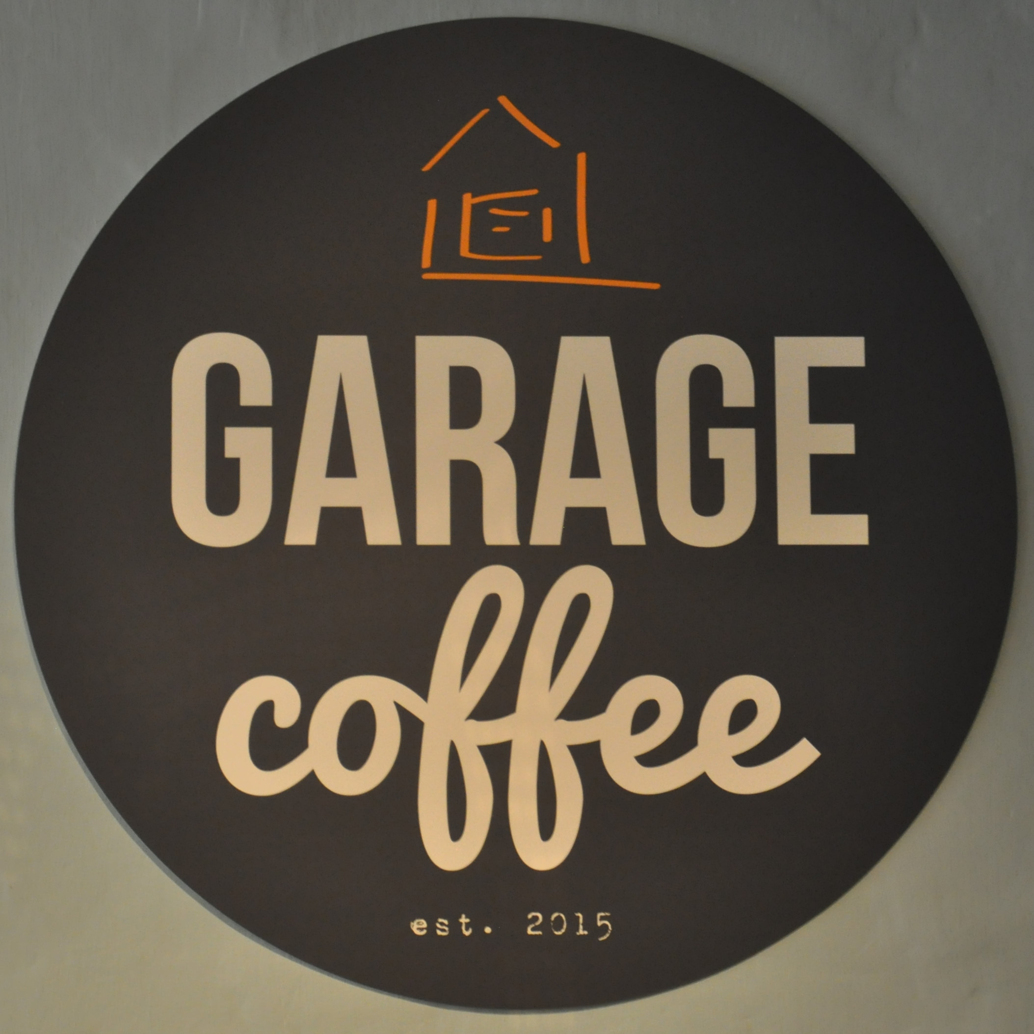 The Garage Coffee logo from the cafe inside the Fruitworks Coworking space in Canterbury.
