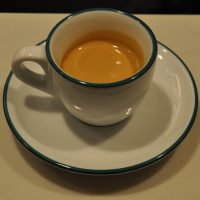 A lovely Verve espresso in a classic white cup, pulled at Infuse Coffee & Tea Bar in River North Point, Chicago.