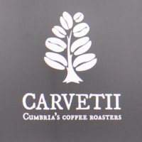 "The Carvetii Coffee Roasters' logo, with the slogan ""Cumbria's Coffee Roasters""."