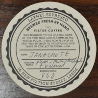 A unique take on the tasting note card from Laynes Espresso in Leeds: the Tasting Note Beer Mat.