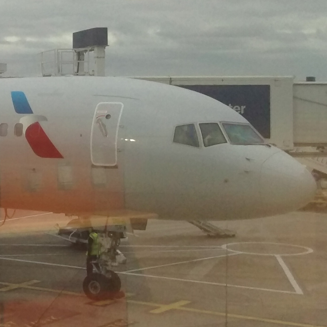 My American Airlines Boeing 757 at the gate at Manchester Airport, having safely returned me from Chicago O'Hare.