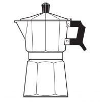 "A line drawing of a Moka Pot, taken from the cover of my book, ""The Philosophy of Coffee""."