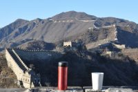 The cover of the 2018 Coffee Spot Calendar. I visit the Great Wall of China, along with my Espro Travel Press and Therma Cup.