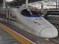 My high-speed sleeper train, forming the D321 service, waiting on Platform 5 at Beijing South Station to take me to Shanghai.