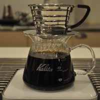 A Kalita Wave filter just finishing brewing at Wrecking Ball in San Francisco