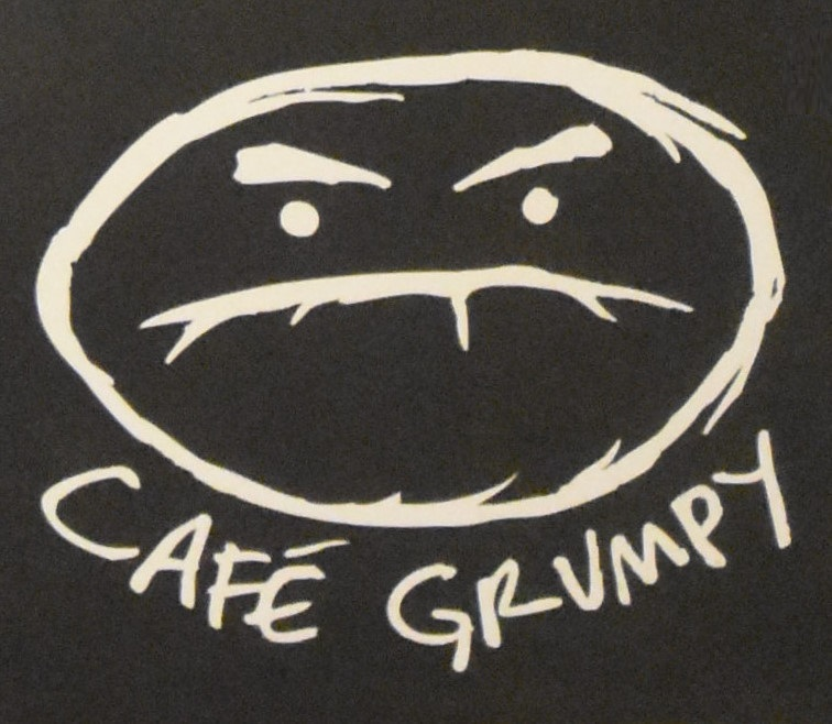 The Cafe Grumpy logo from the bottom of the menu on the wall of the Nolita branch,