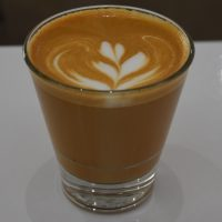 An awesome cortado in a glass, using a single-orign Kenyan from Heart Coffee Roasters, served in FUTURO in Phoenix.