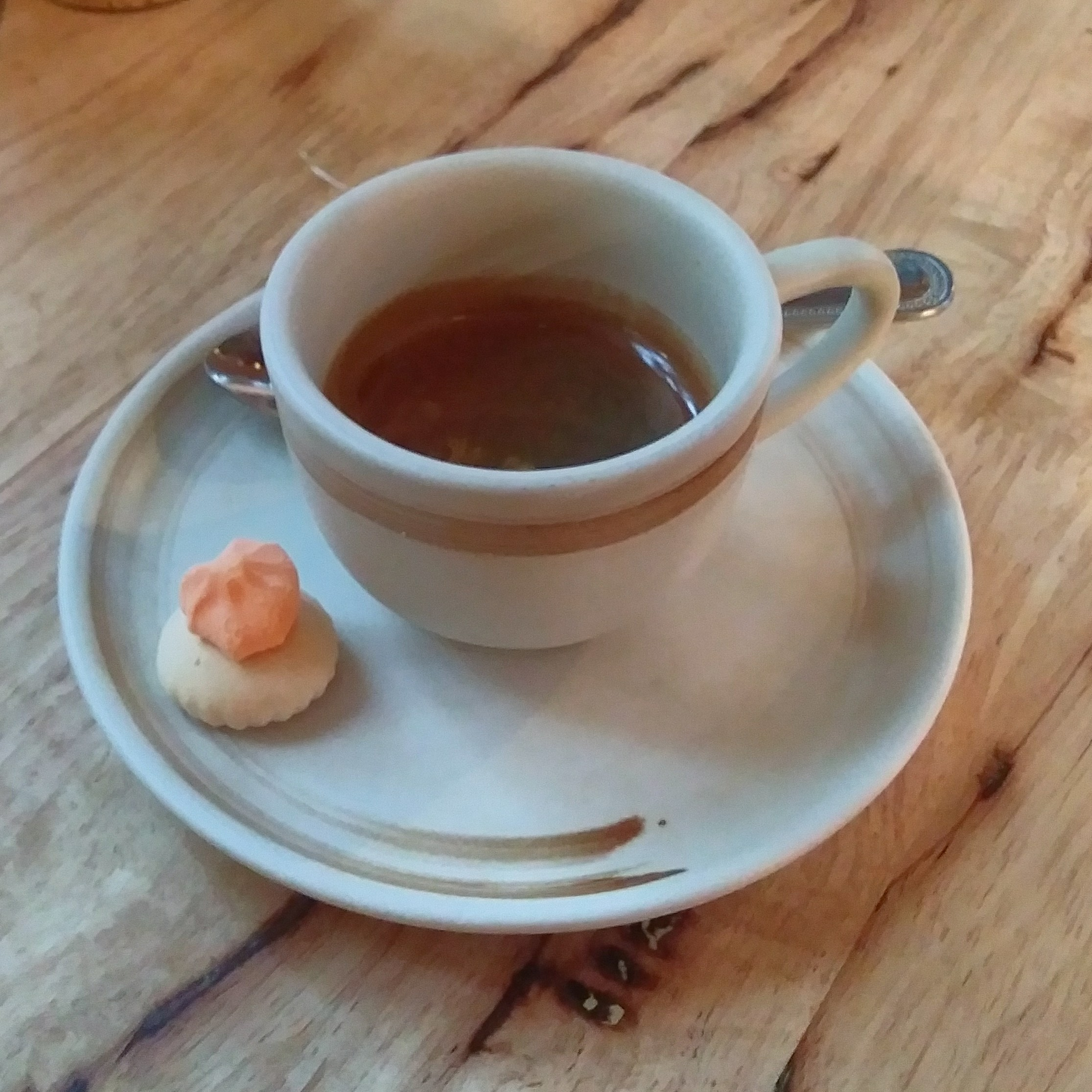 My espresso, in a classic cup on a lovely saucer, made using a blend of coffee from Chiang Mai, and served in Lan Din Coffee, Bangkok.