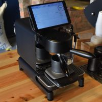 The Decent Espresso machine, set up and ready to go at The Good Coffee Cartel in Glasgow.