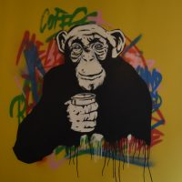 The painting of a chimp from Melbourne in Llichfield, Bird Street, who lives over the fireplace.