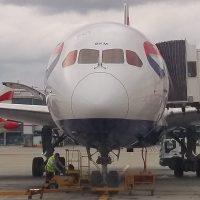 My ride to Bangkok, a British Airways 777-200, sitting at the gate at Heathrow Terminal 5.