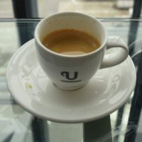 An espresso at the British Airways lounge in Heathrow Terminal 5, made with Union Hand-roasted coffee.