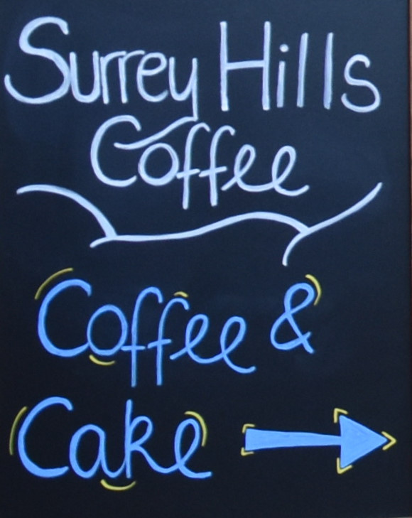 Details from the A-board outside the new home of Surrey Hills Coffee on Jeffries Passage in Guildford.