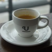 An espresso from the British Airways north lounge in Heathrow's Terminal 5, made using coffee from Union Hand-roasted.