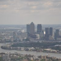 The towers of Canary Wharf, as seen in the distance from the top of the Shard in 2014.