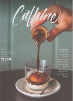 The cover of Issue 34 of Caffeine Magazine, an espresso being poured over ice cream to make an affogato.