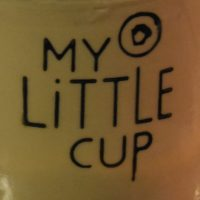 My Little Cup detail taken from the cup on top of the La Marzocco espresso machine at My Little Cup in Montreal.