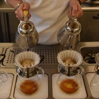 Barista skills in action: pouring two Kalita Wave filters simultaneously at Verve Coffee Roasters in Omotesando, Tokyo.