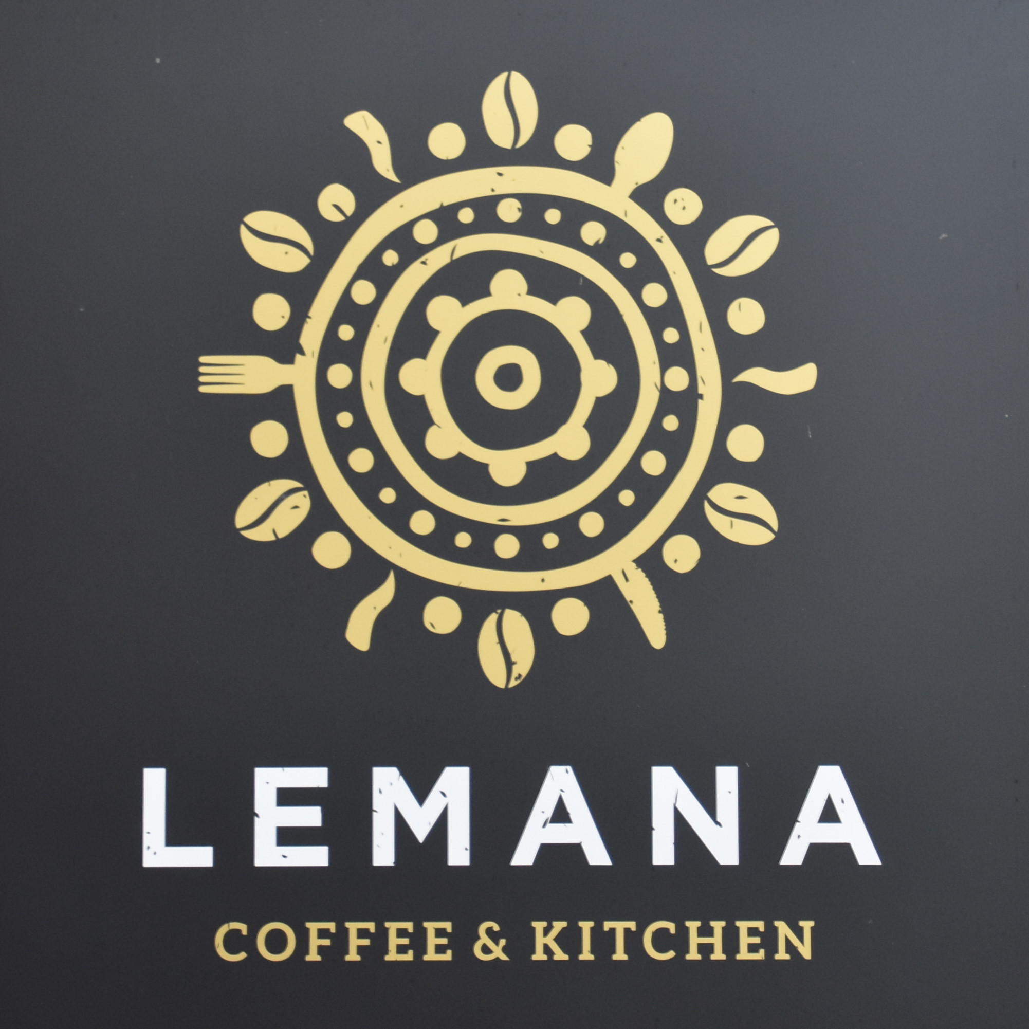 The Lemana Coffee & Kitchen logo from the sign on the wall at the end of Madeira Mews in Lymington.