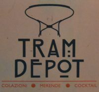 The Tram Depot logo from the side of the kiosk in Rome.