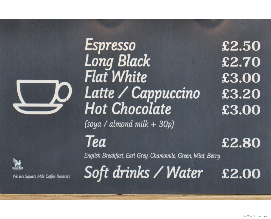 There's a concise coffee and hot drinks menu...