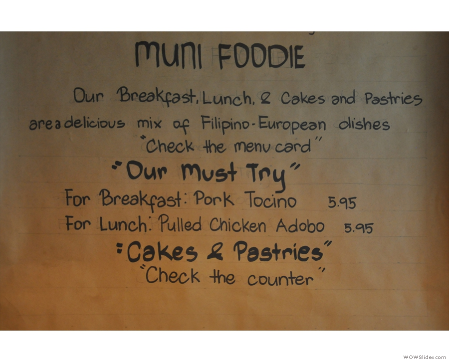 Muni's food philosophy.