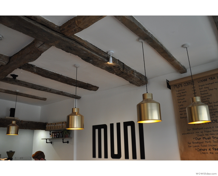 I was very taken with both the lights and the exposed, wooden ceiling beams.
