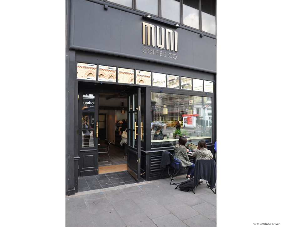 Muni Coffee, set back off the street towards the eastern end of London's Fulham Road.