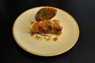 And here's my turon, a banana spring roll with a caramel glaze.