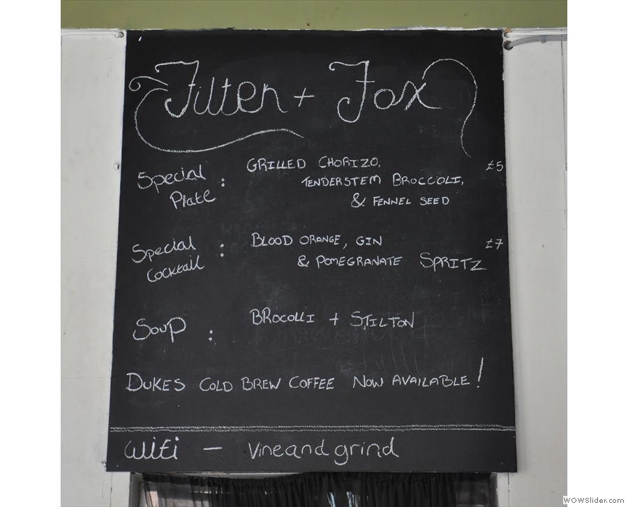 The specialis menu is chalked up on the wall...