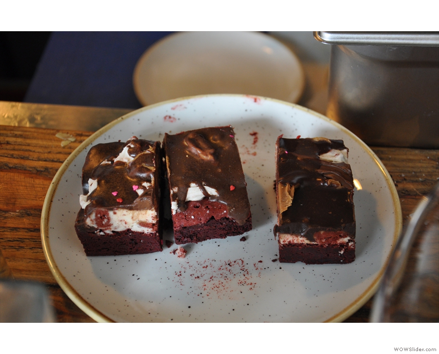 These are chocolate and salted caramel brownies with a butter cream frosting...
