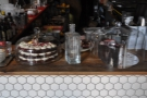 There's a small, but excellent, selection of cake at the far end of the counter.