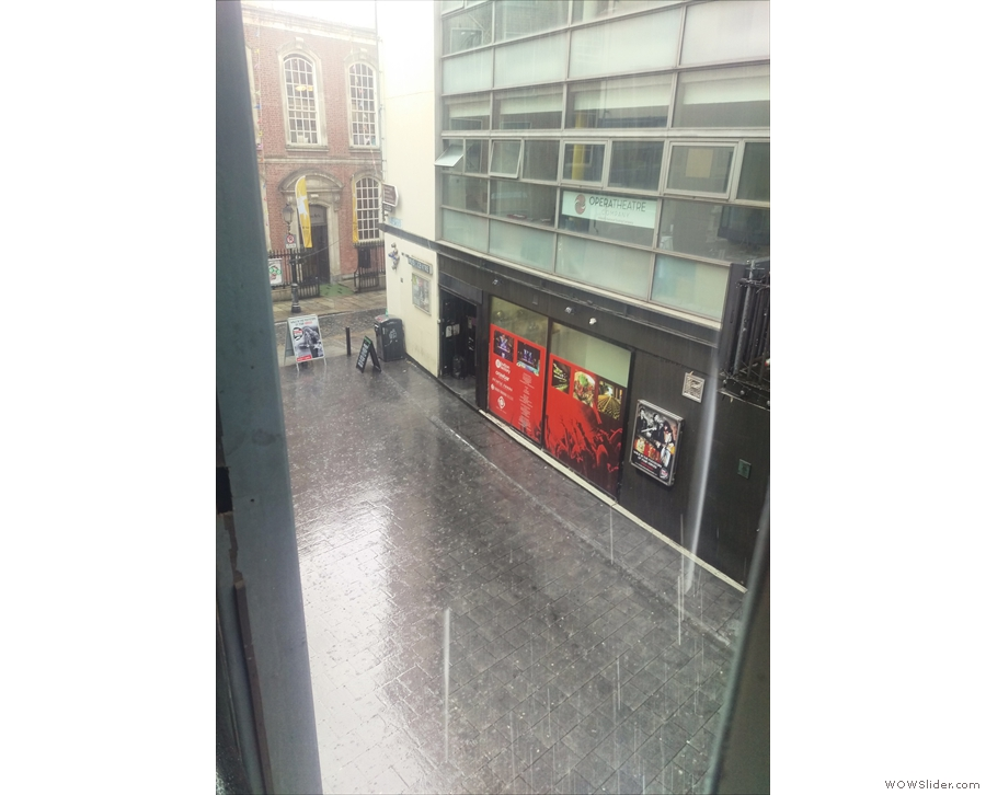 Hmmm. Dublin weather. I think I might just stay here. That's a gap in the windows, by the way. And yes, it does let the rain in!