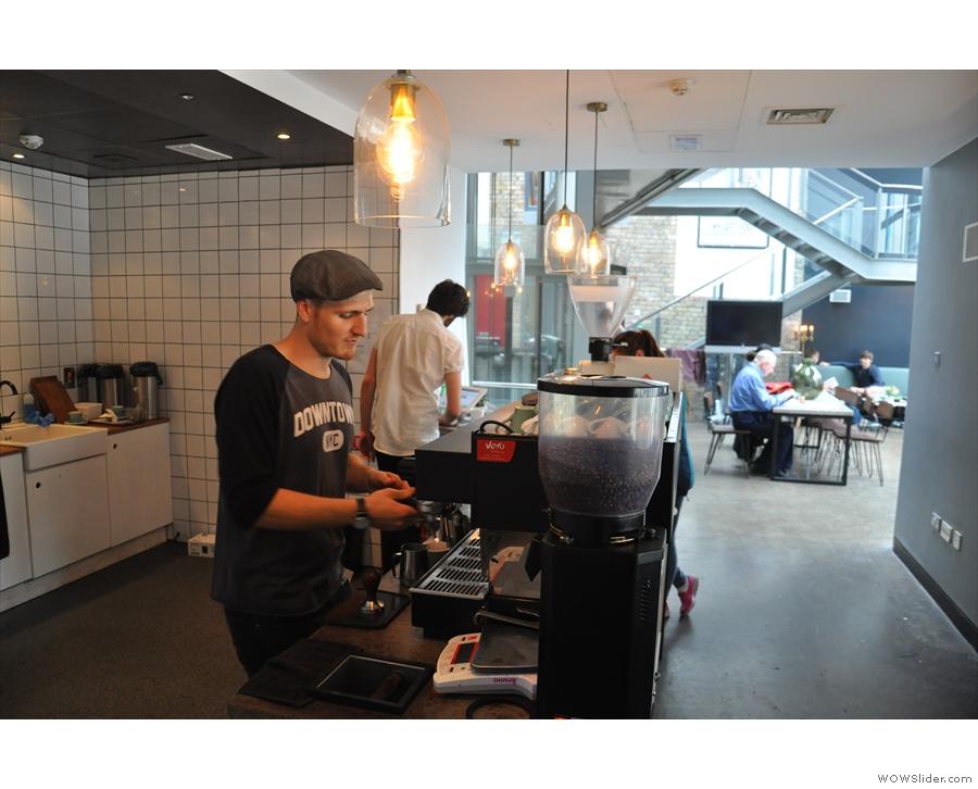 My barista, Jarryd, hard at work on the espresso machine.