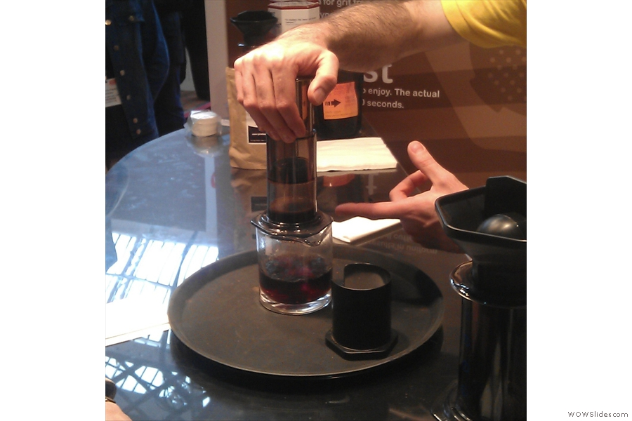 Second Rule of Aeropress Club: don't follow the instructions, as was demonstrated to me. Look! It works!