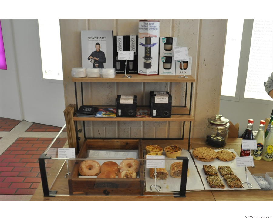 At the left hand end of the espresso bar comes the food and retail section.