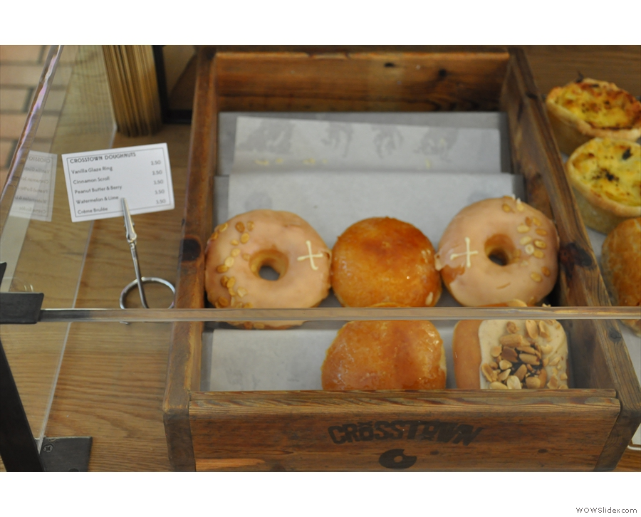 There are also sweet things in the shape of Crosstown Doughnuts.